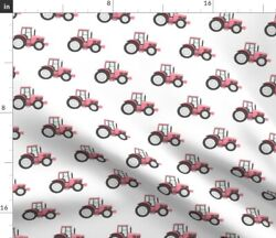 Farming Tractor Baby Girl Pink Tractor Pink Spoonflower Fabric By The Yard