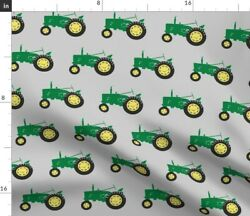 Tractor Farming Tractor Trendy Green Tractor Baby Spoonflower Fabric By The Yard