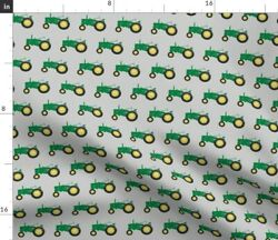 Green Trendy Farm John Farming Midwest Tractor Spoonflower Fabric By The Yard