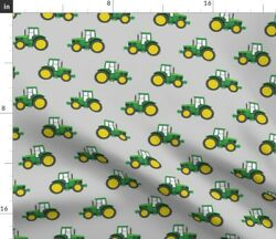 Farm Tractor Green Little Arrow Green Tractor Spoonflower Fabric By The Yard