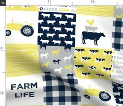 Yellow And Navy Nursery Tractor Farm Life Home Spoonflower Fabric By The Yard