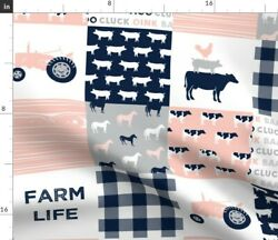 Plaid Farm Farm Life Pink Tractor Pink And Navy Spoonflower Fabric By The Yard