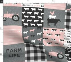 Farm Life Patchwork Grey Tractor Cows Pigs Baby Spoonflower Fabric By The Yard