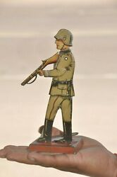 Rare Vintage Drgm Mechanical Soldier With Gun Litho Tin Toy,germany