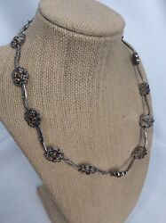 Beautiful Konstantino  Sterling Silver 925 18k Flower Collar Toggle Necklace