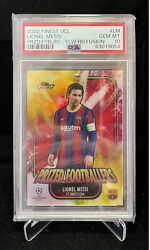 2020-21 Topps Finest Uefa Lionel Messi Prized Footballers Sp Yellow Red Psa 10