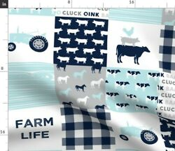 Farm Patchwork Baby Blue Navy Tractor Boy Cow Spoonflower Fabric By The Yard