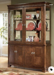 Ashley Furniture China Hutch Lasalle Wood And Glass With Touch Light