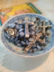 Vintage 50's Periwinkle Glass Rosary Lot Of 3 Rosaries Roman Catholic Special