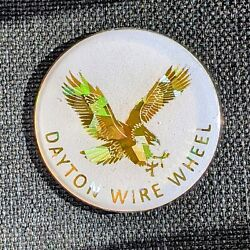 White And Gold Dayton Wire Wheel Chips Emblems Decals Set Of 4 Size 2.25in.