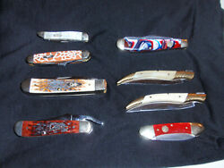 4 Case Knifes 4 Hen And Rooster Leather Sheaths