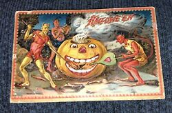 Antique Halloween Tuckand039s Post Card With Pumpkins And The Devil Demons Vintage
