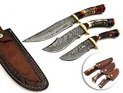 Damascus Steel Custom Handmade Forge Hunting Dagger Bowie Set 3pc With Stag Grip