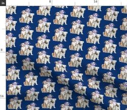 Pitbull Dogs Animals Blue Puppies Spoonflower Fabric by the Yard