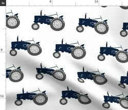 Tractors Navy Dusty Blue Farm Collection Tractor Spoonflower Fabric By The Yard