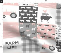 Woodland Horse Pig Pink And Grey Tractor Baby Spoonflower Fabric By The Yard