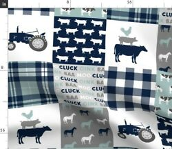 Farm Life Tractor Wholecloth Patchwork Navy Dusty Spoonflower Fabric By The Yard