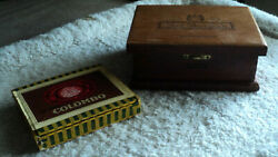 Rare 2 High Quality Vintage Cigar Boxes Great Condition Nat Sherman And Colombo