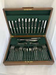 47 Piece Solid Silver Dinner Service For 6 Sheffield 1965 Sterling Silver Cased