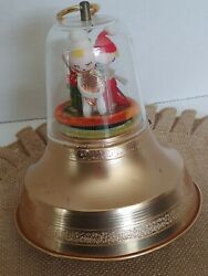 Vintage Amico Pull String Christmas Bell W/pixie Elves Plays Jingle Bells Rare