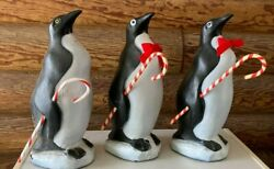 3 Vintage Blow Mold Union Products Penguins Candy Cane Christmas Yard Holiday