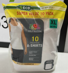 Menandrsquos Fruit Of The Loom 10-pack White Tag Free Tank Top A-shirts Size Xl