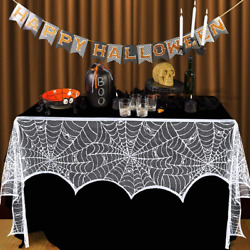 Halloween Fireplace Mantel Scarf White Lace Spiderweb Fireplace Cover Decoration