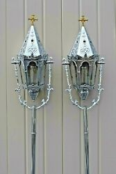 + Pair Of Nickel Plated Processional Torches, Acolyte Lanterns + Cu813