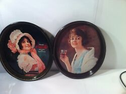 2 Tin Coca Cola Trays--oblong--vintage---carriers--wwii---ships Free--vgc