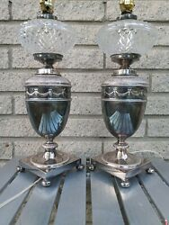 Pair 2 Antique English Sliver Plate Kerosene Style Lamps Rewired Unmarked