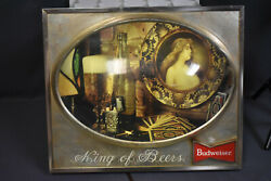 Vntage Budweiser King Of Beers Lighted Sign W Bubble Glass, 18 X 15 X 3 1/2