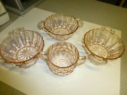 Antique Pink Depression Glass Sugar With 3 Handled Bowls, Nice And Htf