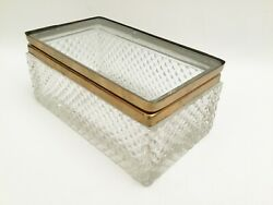 Antique French Cut Crystal Glove Hinged Box Sale 99