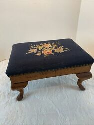 Antique Queen Anne Needlepoint Foot Stool Ottoman Navy W/roses10x14x8
