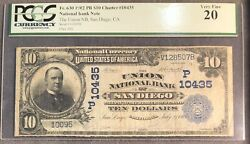 National Bank Note The Union Nb San Diego Ca. 1902 Pb Ch 10435. Pcgs Vf 20.