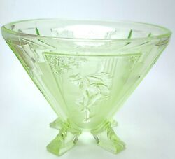 Beautiful Art Deco Style Green Depression Glass Hermes Mercury Vase By Sowerby