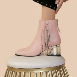 Womenand039s Tassel Leather Ankle Boots Zipper Block Heels Fashion Winter Shoes Drtp