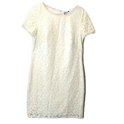Adrianna Papell Womens Size 12 Short Cap Sleeve Laurel Lace Shift Dress Ivory