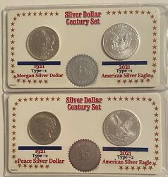 2021 35th Anniversary Silver Eagles And Morgan And Peace Dollar Century Set 5973