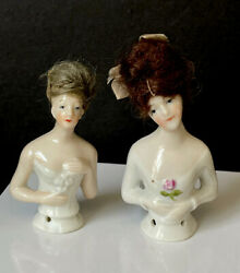 Lot Of 2 Antique German Porcelain Pincushion Half Dolls With Mohair Wigs