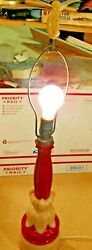 Vintage, Art Deco, Aladdin Alacite Glass Table Lamp With Finial, Electric, Red