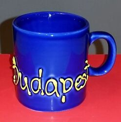 Budapest Hungary Cobalt Blue Small Espresso Demitasse Cup Mug Yellow Letters