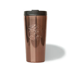 Starbucks Copper Brown Etched Stainless Steel 16oz Travel Cup Mug Tumbler - New