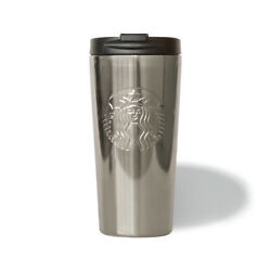 Starbucks Silver Grey Etched Stainless Steel 16oz Travel Cup Mug Tumbler - New
