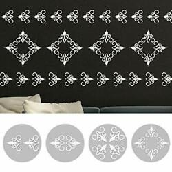 12 Pieces Creative Hollow Mirror Wall Stickers Self Adhesive Art Murals 12pcs