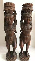 A Pair Of Rare Carved Figures Indonesian / South American Late 19th / 20th C