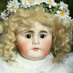 Antique Porcelain Doll 1890 Bandaumlhr Proschild Closed Mouth With A Small Bisque Doll