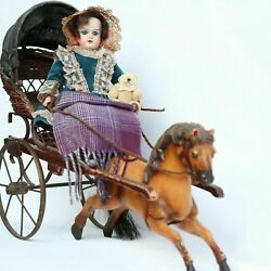 Antique Porcelain Doll With Horse And Carriage Team The Perfect Osomble