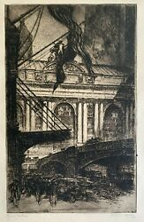 Otto Kuhler Grand Central 1927 Etching With Drypoint Pencil Signed Titled