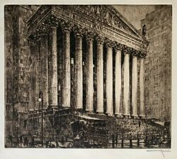 Otto Kuhler Court House Exceptionally Rare Etching With Drypoint C 1920s